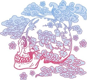 Skull With Pink And Blue Blossoms