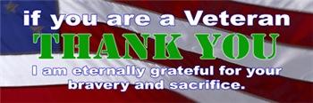 Thank you Veterans Bumper Sticker