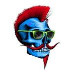 Hipster Skull Blue