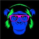 Neon Hipster Chimp Blue