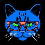 Hipster Cat Neon Blue