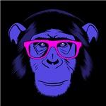 Hipster Chimp Neon Purple