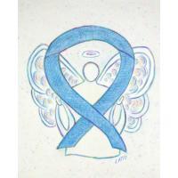 Denim Blue Sketch Awareness Ribbon Angel