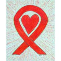 Red Awareness Ribbon Heart