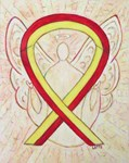 Red and Yellow Awareness Ribbon Angel