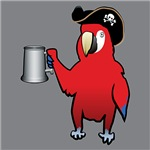 Red Pirate Parrot with a tankard