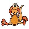 Cute Suprised Orange Dinosaur
