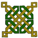 Green & Gold Celtic Knot with Diamond Caps