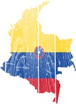 Colombia Civil Ensign Flag And Map