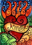 Amor Flaming Milagro Heart