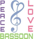 Peace Love Bassoon Music T-shirts