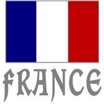 France Flag & Word Grey