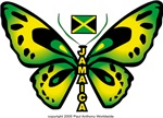 Butterfly Jamaican t-shirt with the Jamaica Flag