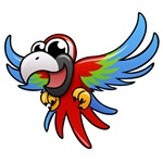 Cartoon Scarlet Macaw