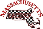 Massachusetts Checkered Flag Map RED