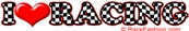I Love Racing Checkered Letters