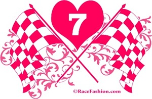 2 Pink Crossed Checkered with number seven inside