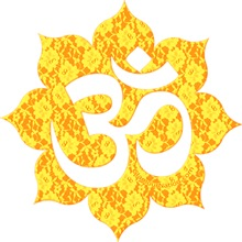 Aum (Om) on yellow lace  / YOGA