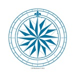 Starry Blue Compass Rose