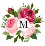 Pink Red Roses Floral Monogram