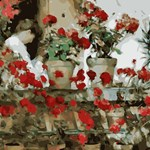 Red Geraniums after Childe Hassam