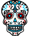 Red Blue Sugar Skull Day of Dead