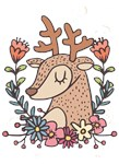 Cute Deer With Flowers Art