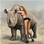 Girl and rhino
