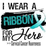 Cervical Cancer I Wear Teal and White Ribbon Shirt
