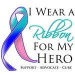I Wear a Ribbon For My Hero Thryoid Cancer Shirts