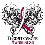 Butterfly Floral Throat Cancer Shirts and Gifts