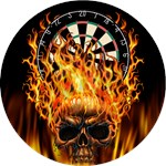 Flaming Darts Skull