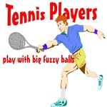 Tennis Players play with big fuzzy balls