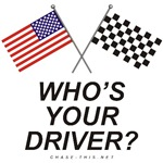 AMERICAN & CHECKERED FLAG<br />WHO'S YOUR DRIVER?