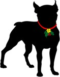 Christmas or Holiday Boston Terrier Silhouette