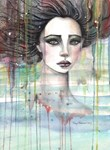 Melancholy Girl Abstract Watercolor Portrait