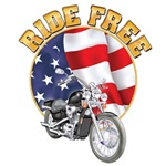 Ride Free Motorcycle and Flag