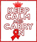 Blood Cancer Keep Calm Carry On Shirts