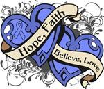 Intestinal Cancer Hope Faith Dual Hearts Shirts