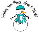 Christmas Snowman PCOS Teal Ribbon Cards & Gifts