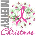 Pink Ribbon Wreath X-Mas Cards & Gifts