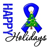 Blue Ribbon Cancer Christmas Holiday Cards & Gifts