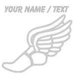 Custom Silver Winged Running Shoe