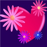lovely heart with flowers