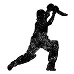 Distressed Cricket Player Silhouette