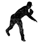 Distressed Baseball Pitcher Silhouette