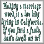 Making a marriage work...California
