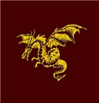 Gold Dragon on Maroon