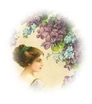 Romantic Edwardian Lady With Purple Flowers in Por