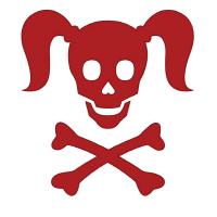 Curly Girlie Skull in red
